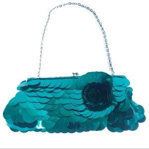Bebe Sequin Flower Paillette Frame Clutch Mini Bag
